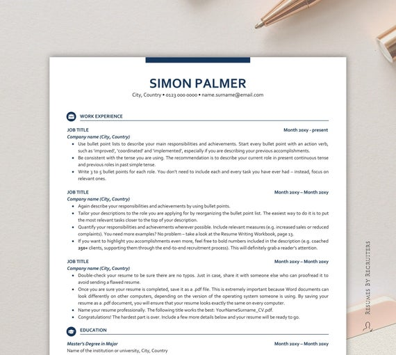 executive resume template ats friendly with icons etsy format il 570xn tf86 can you Resume Resume Format Ats Friendly