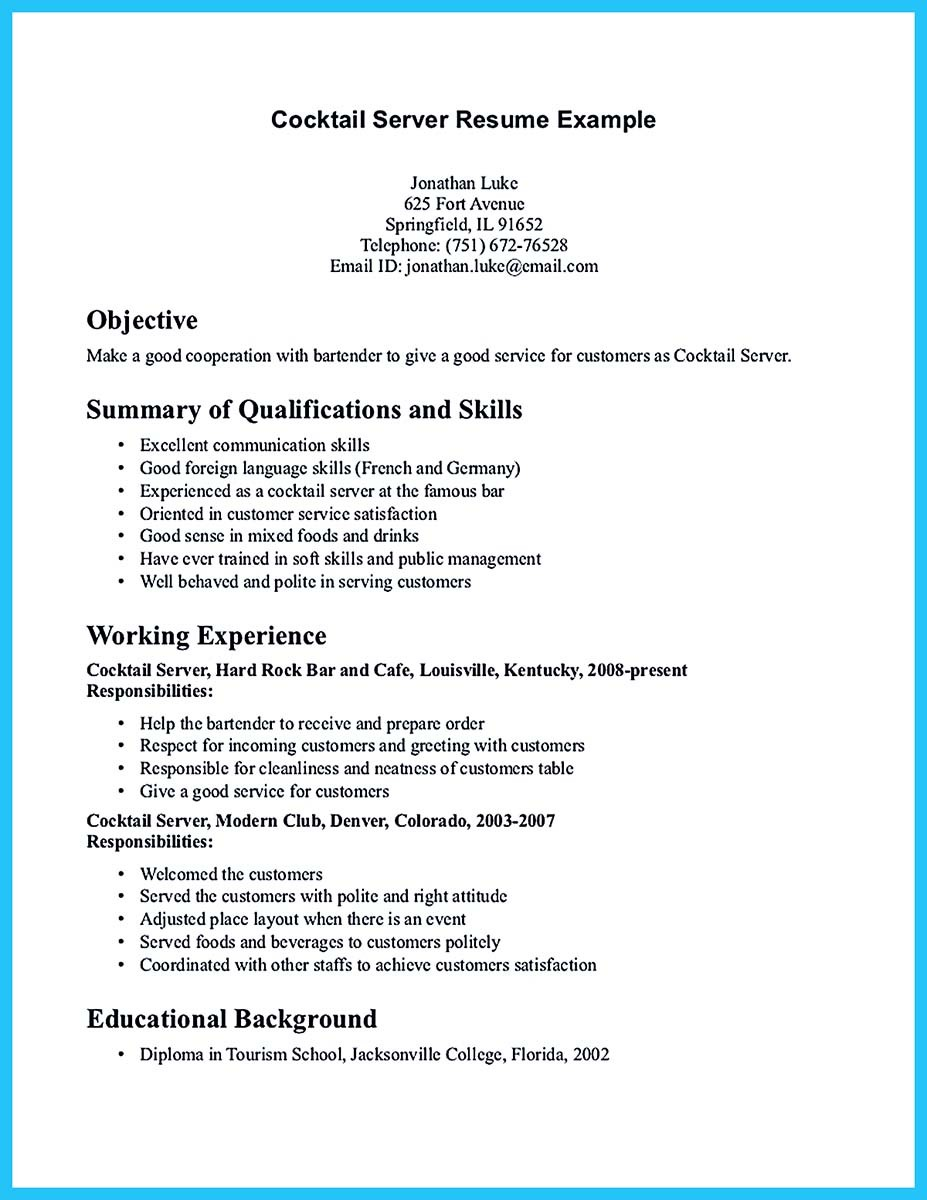 expert banquet server resume guides you definitely need objective bullets and experience Resume Server Resume Objective