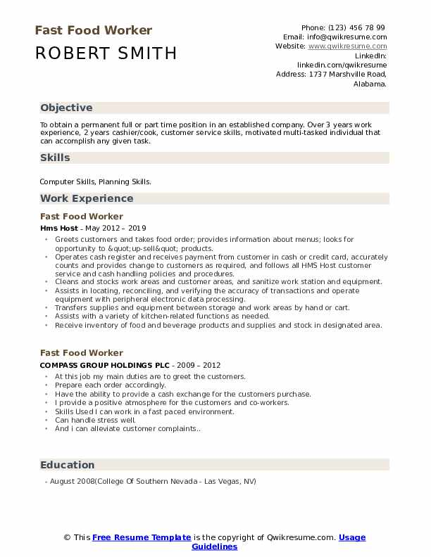 fast food worker resume samples qwikresume examples pdf profile section of auto mechanic Resume Fast Food Resume Examples