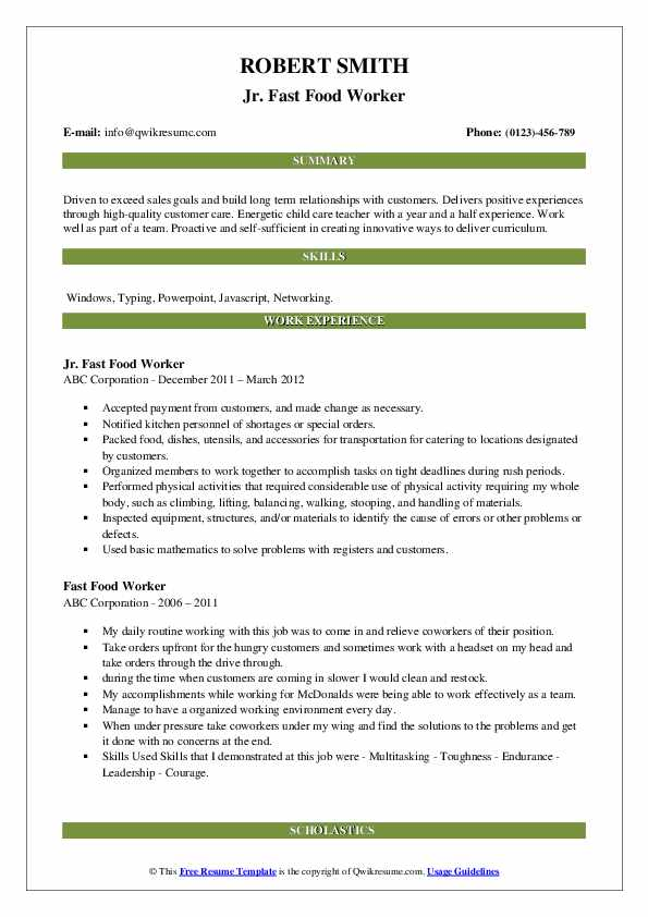 fast food worker resume samples qwikresume examples pdf property manager profile section Resume Fast Food Resume Examples