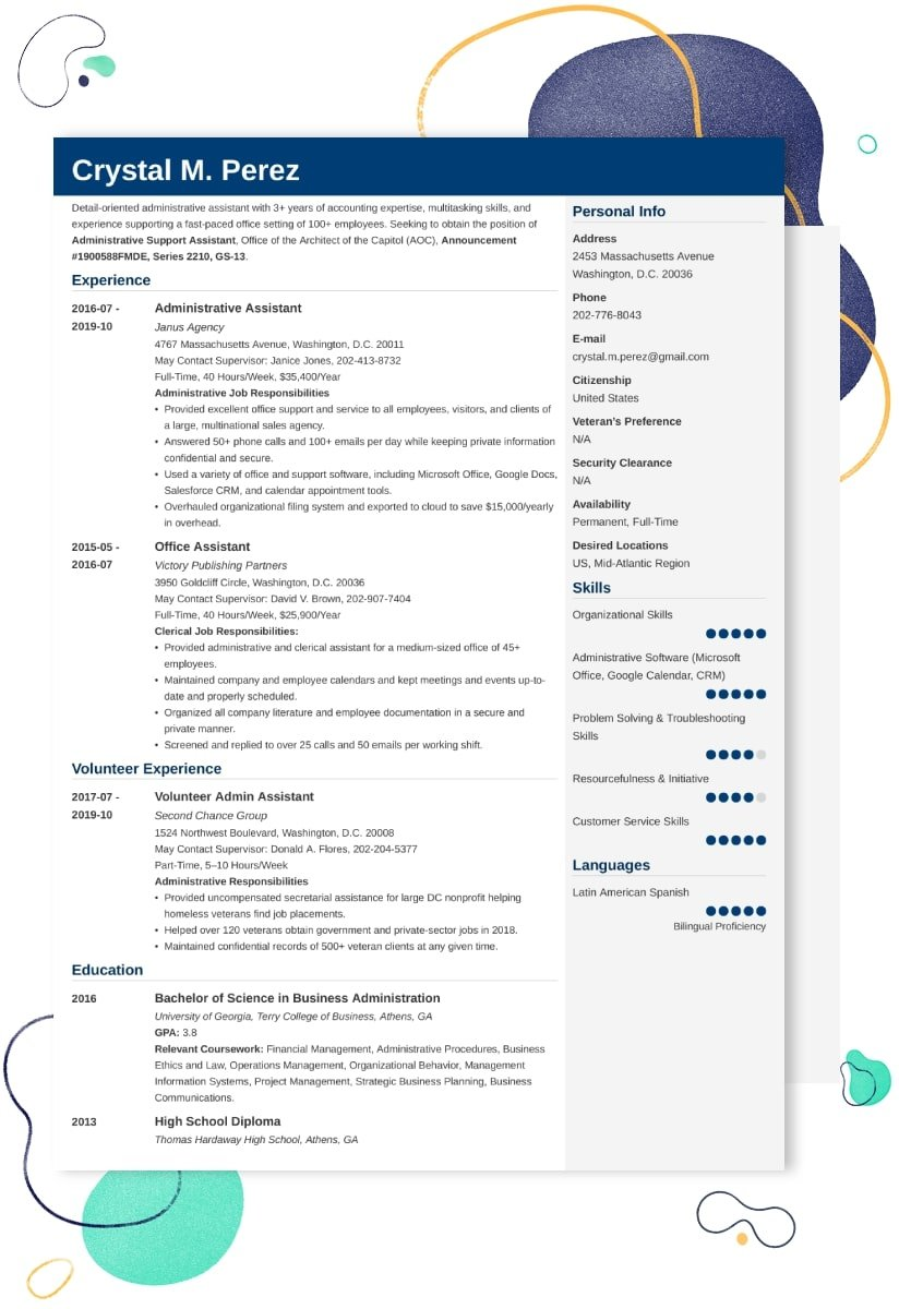 federal resume examples and writing tips example community service worker office word Resume Federal Resume Example 2020