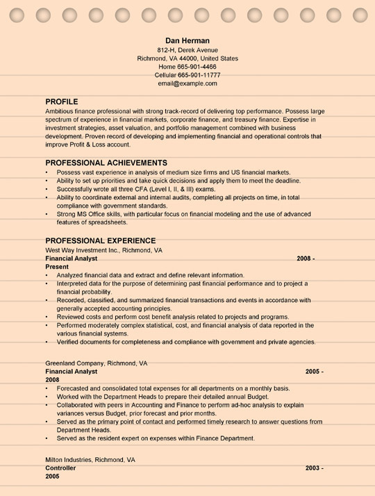 financial analyst resume examples ms word format template sample business development Resume Financial Analyst Resume Template Word