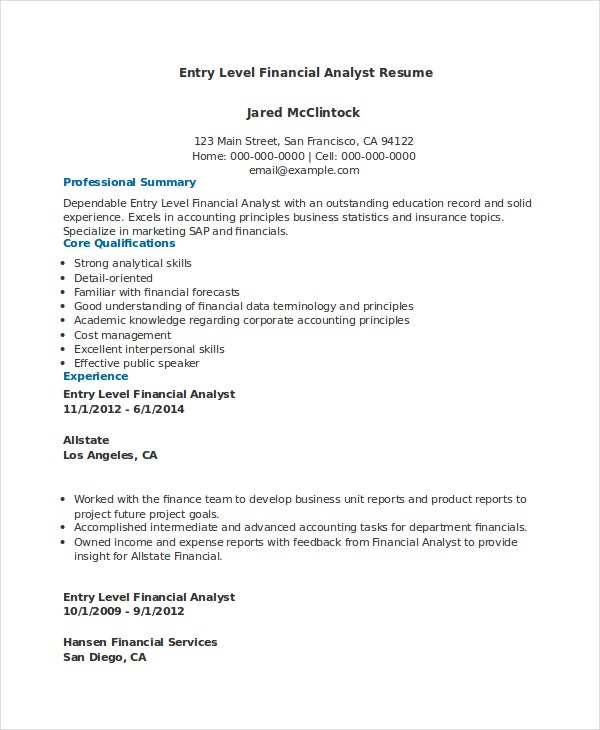 financial analyst resume pdf word documents free premium templates template entry level Resume Financial Analyst Resume Template Word