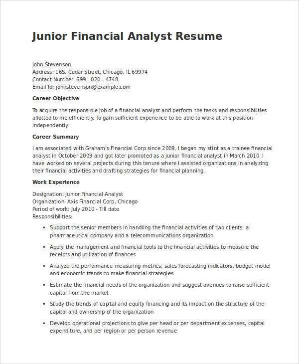 financial analyst resume pdf word documents free premium templates template junior in Resume Financial Analyst Resume Template Word