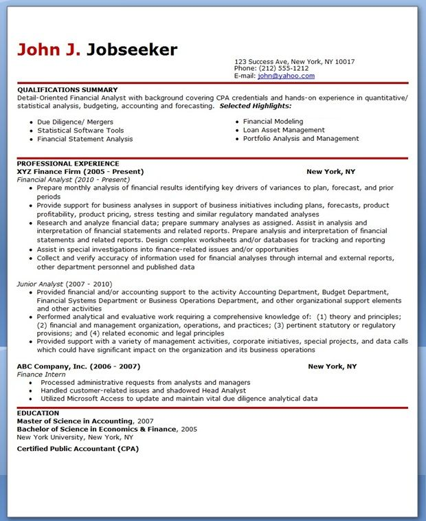 financial analyst resume sample downloads design template creative word speech language Resume Financial Analyst Resume Template Word