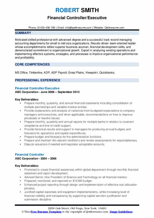 financial controller resume samples qwikresume pdf buzz verbs making great work ethic Resume Controller Resume Samples