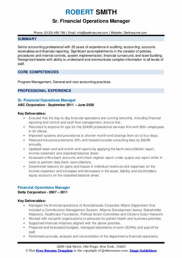 financial operations manager resume samples qwikresume pdf best executive format template Resume Financial Operations Manager Resume