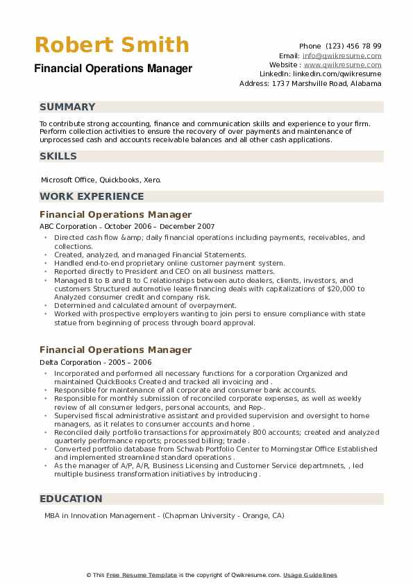 financial operations manager resume samples qwikresume pdf oracle forms and reports Resume Financial Operations Manager Resume