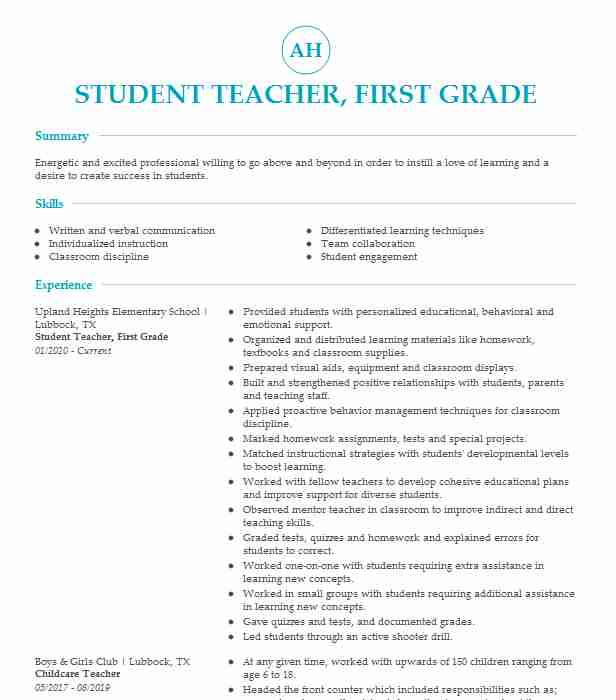 first grade student teacher resume example kinder elementary dayton time customer support Resume First Time Teacher Resume