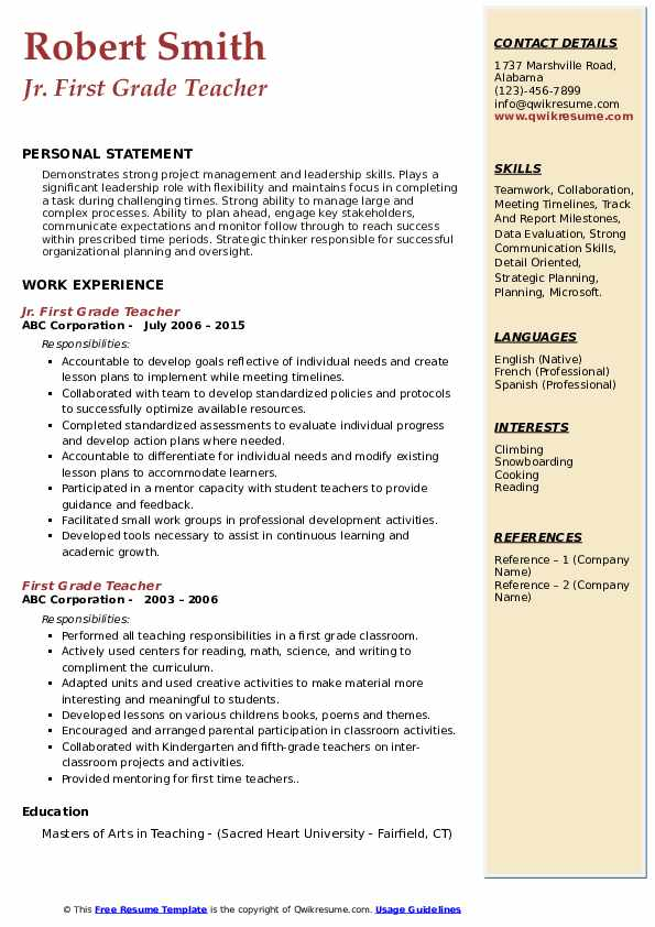 first grade teacher resume samples qwikresume time pdf free format medical templates Resume First Time Teacher Resume
