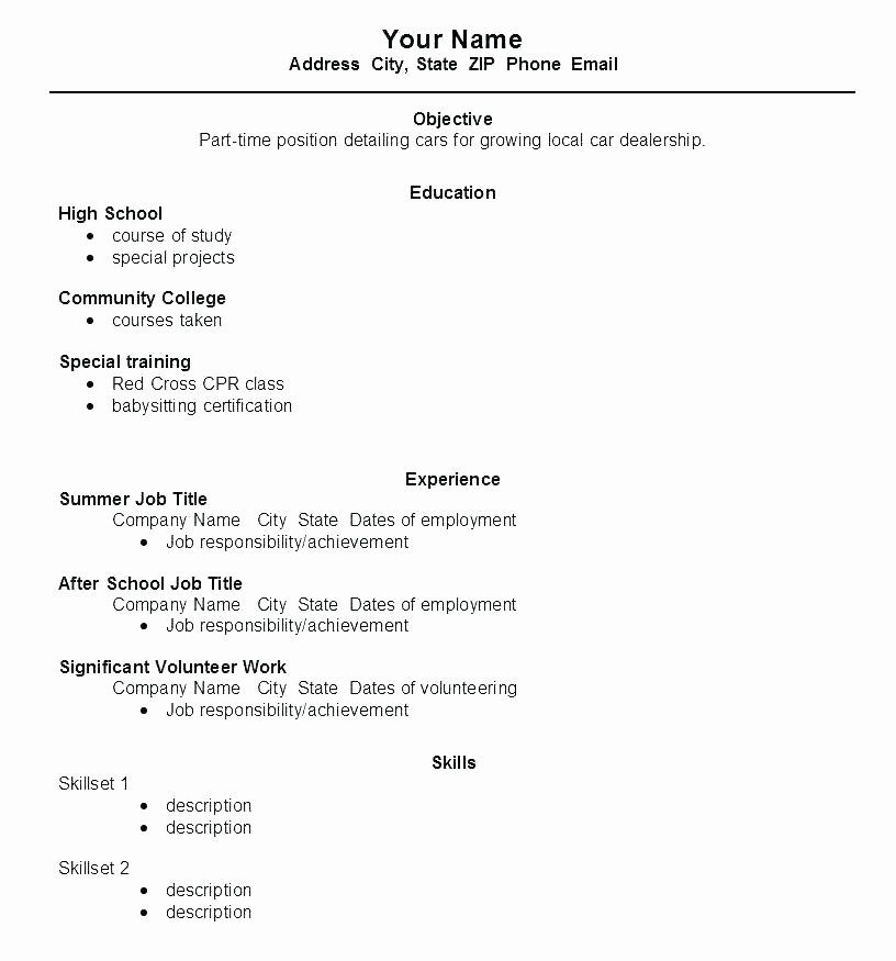 first time resume template awesome work for high school student wikirian job examples Resume First Time Worker Resume