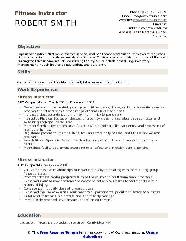fitness instructor resume samples qwikresume template pdf practical experience Resume Instructor Resume Template