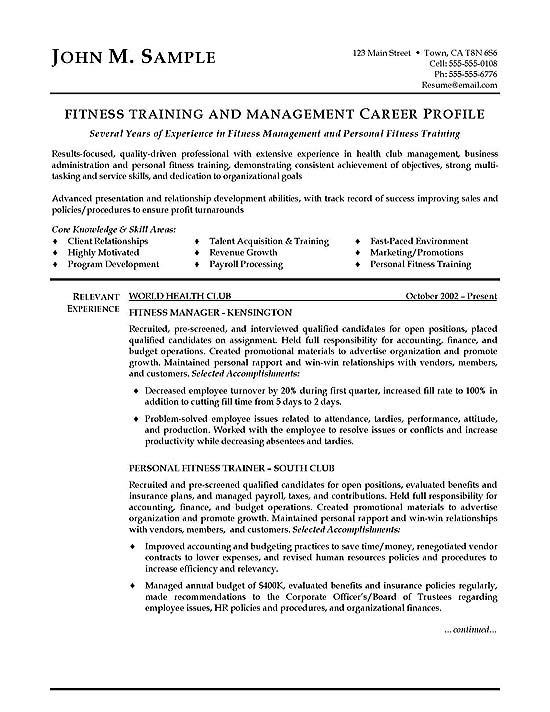 fitness trainer resume example objective for sample exbc19a windows active directory Resume Resume Objective For Trainer