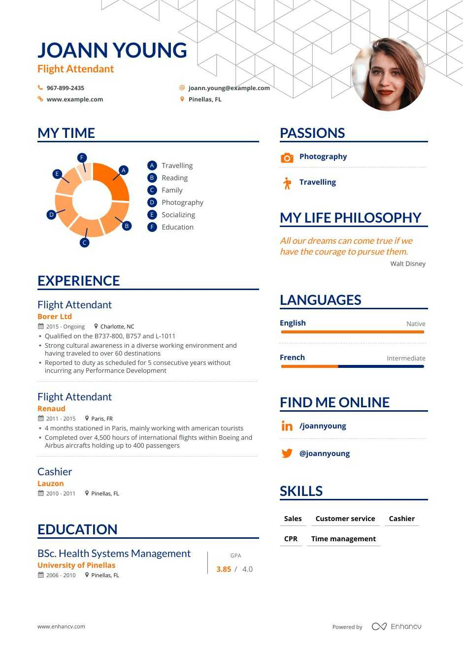 flight attendant resume examples guide pro tips enhancv sample college template owl Resume Flight Attendant Resume Examples