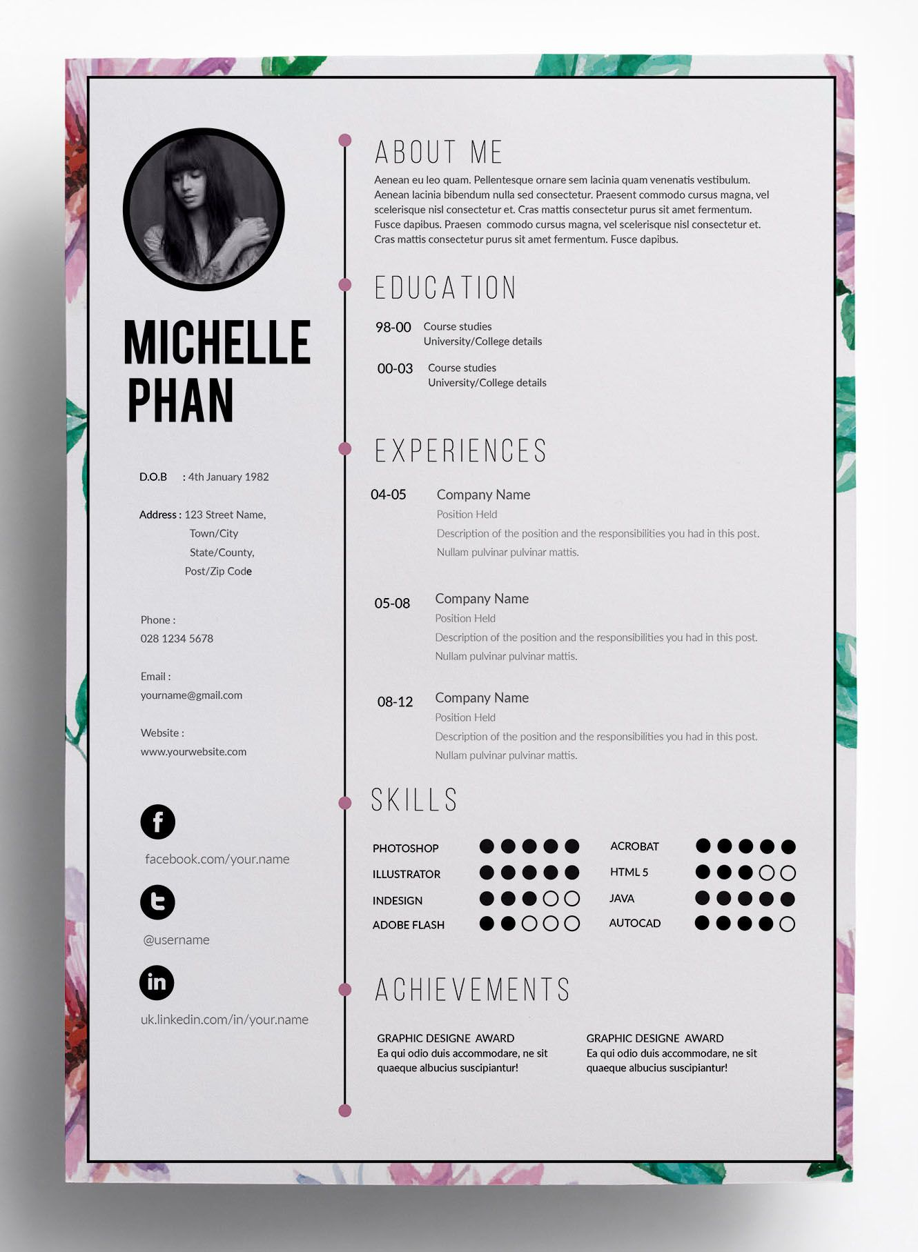 floral cv template design resume layout architecture pretty templates receptionist action Resume Pretty Resume Templates