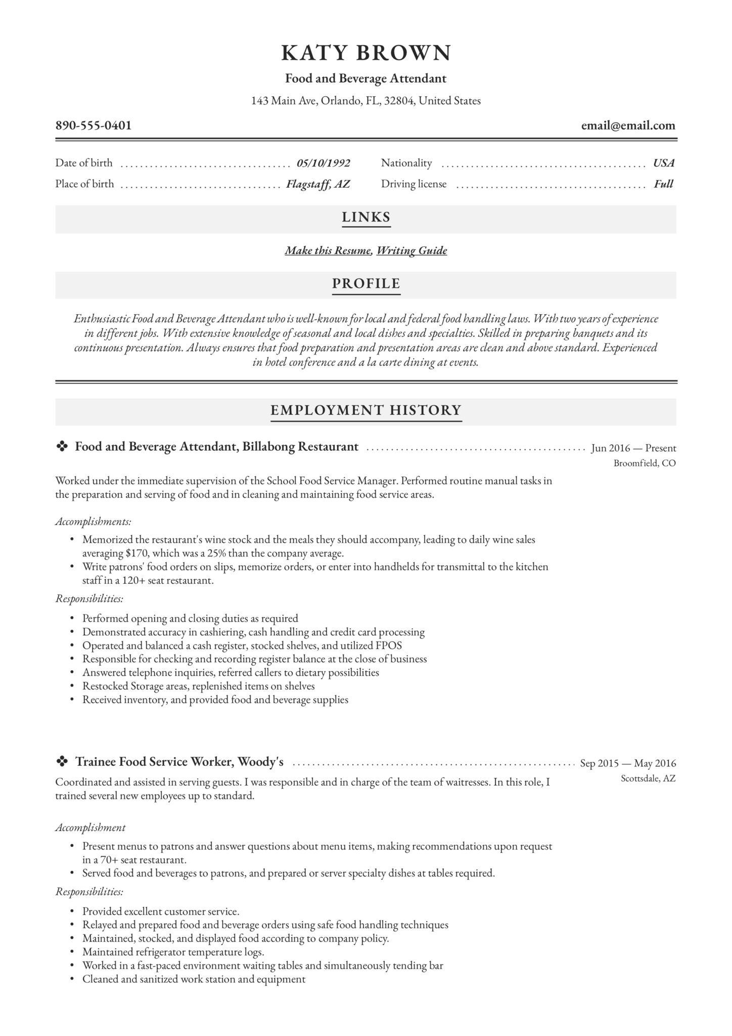 food and beverage attendant resume examples word pdf service scaled college degree on Resume Service Attendant Resume