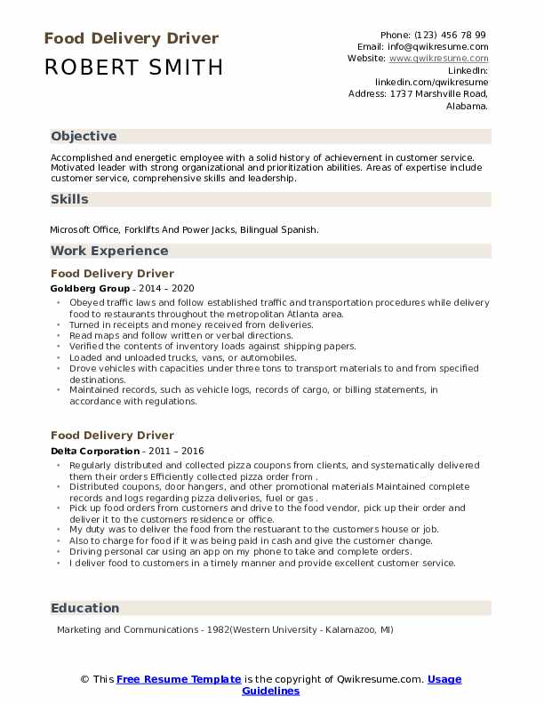 food delivery driver resume samples qwikresume package pdf human resources analyst Resume Package Delivery Driver Resume