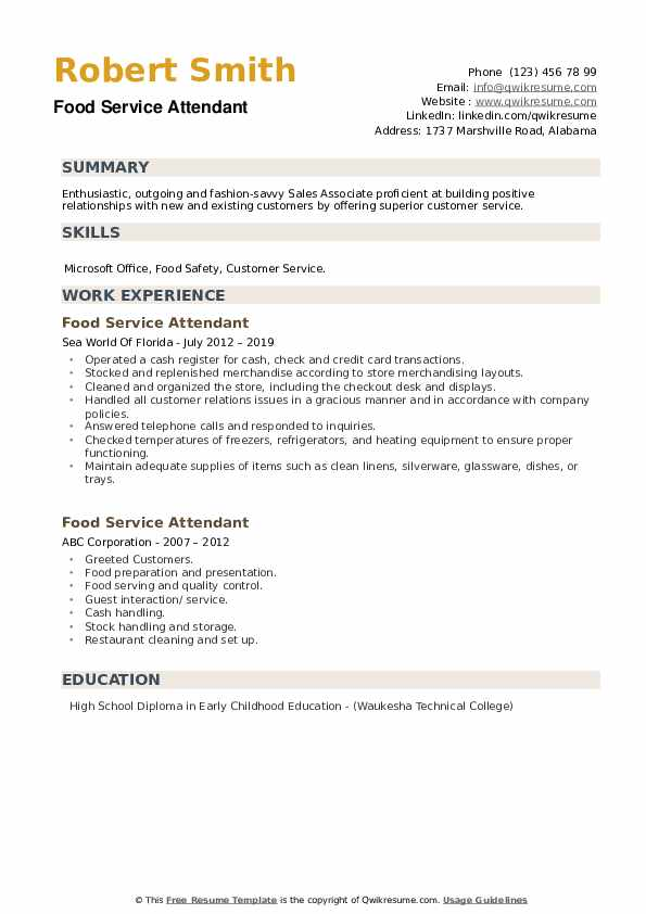food service attendant resume samples qwikresume examples pdf free template architect Resume Food Service Resume Examples