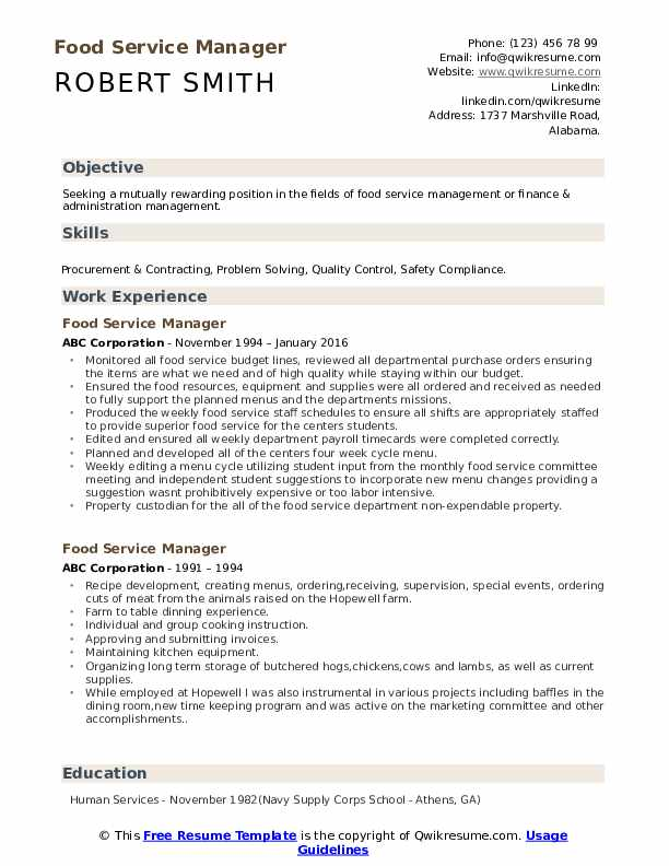 food service manager resume samples qwikresume pdf best college student template for grad Resume Food Service Manager Resume