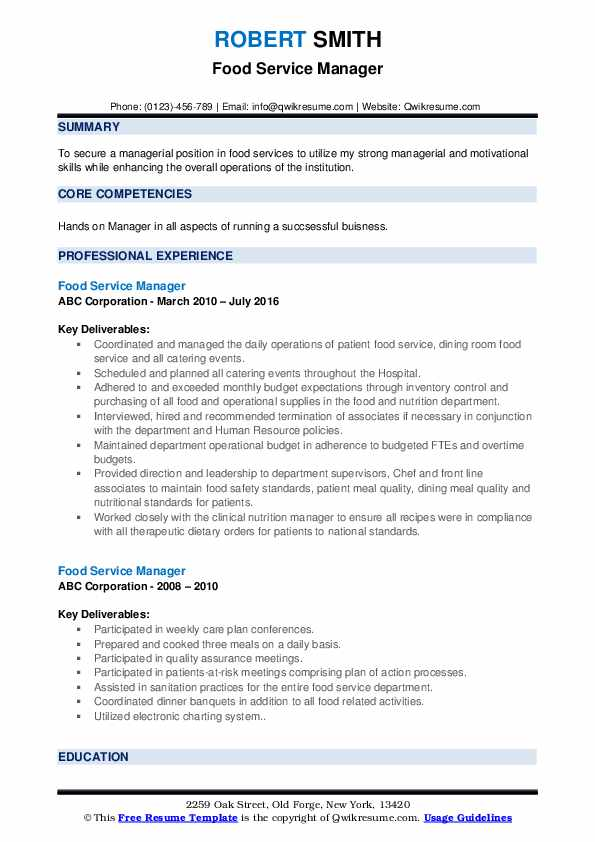 food service manager resume samples qwikresume pdf sample for experienced test engineer Resume Food Service Manager Resume