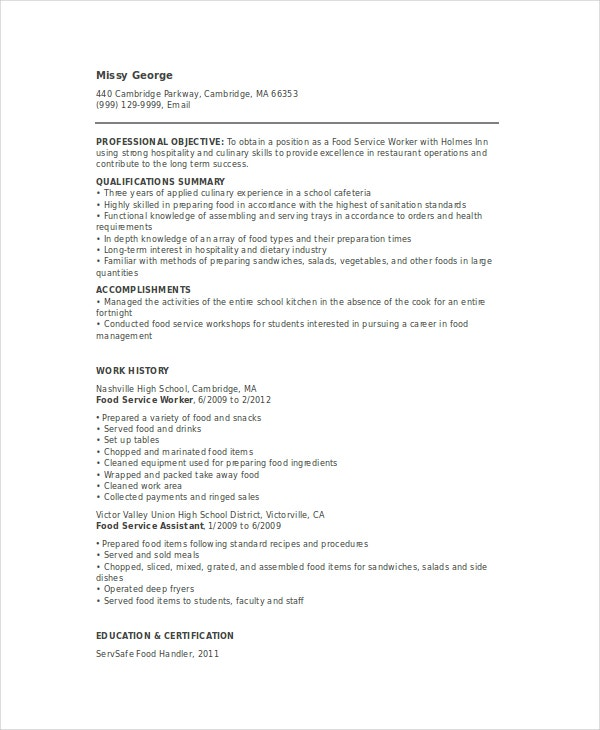 food service resume templates pdf free premium template for worker direct support Resume Resume Template For Food Service Worker
