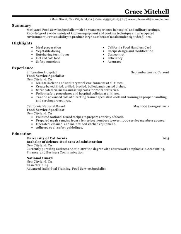 food service specialist resume examples created by pros myperfectresume template customer Resume Food Service Resume Template