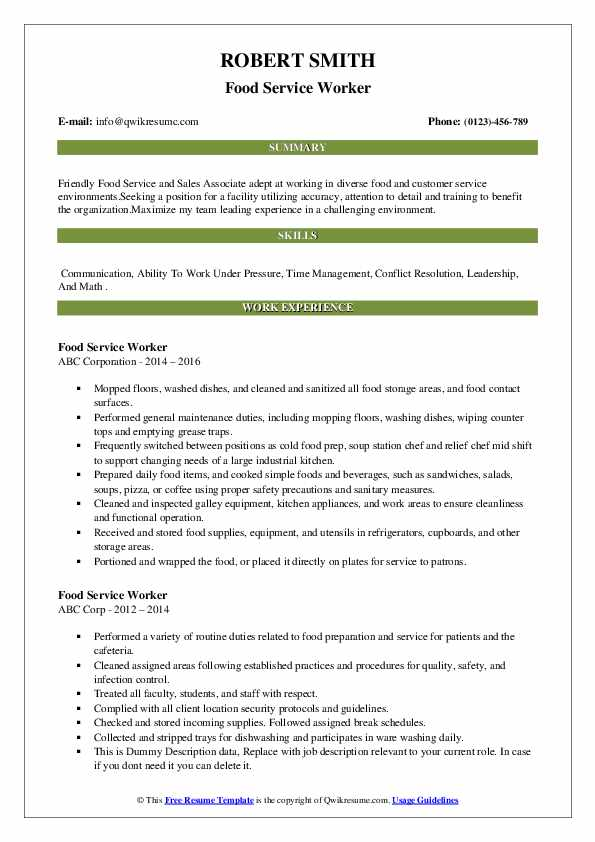 food service worker resume samples qwikresume template for pdf attractive free templates Resume Resume Template For Food Service Worker