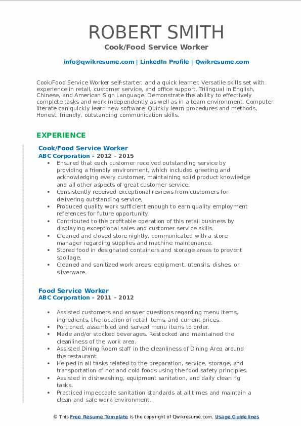 food service worker resume samples qwikresume template for pdf retail cashier free cover Resume Resume Template For Food Service Worker