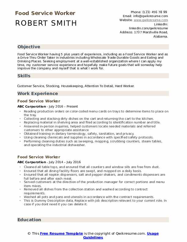 food service worker resume samples qwikresume template pdf substation electrical engineer Resume Food Service Resume Template