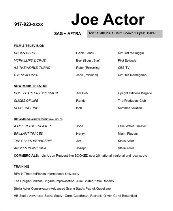free actor resume template and to write yours properly model joe gumroad templates Resume Actor Model Resume Template