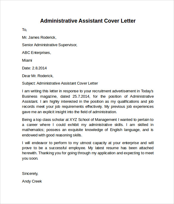 free administrative assistant cover letters in ms word pdf example of resume letter for Resume Example Of Resume Cover Letter For Administrative Assistant