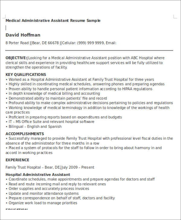 free administrative assistant resume objectives in ms word pdf objective medical Resume Porter Resume Objective
