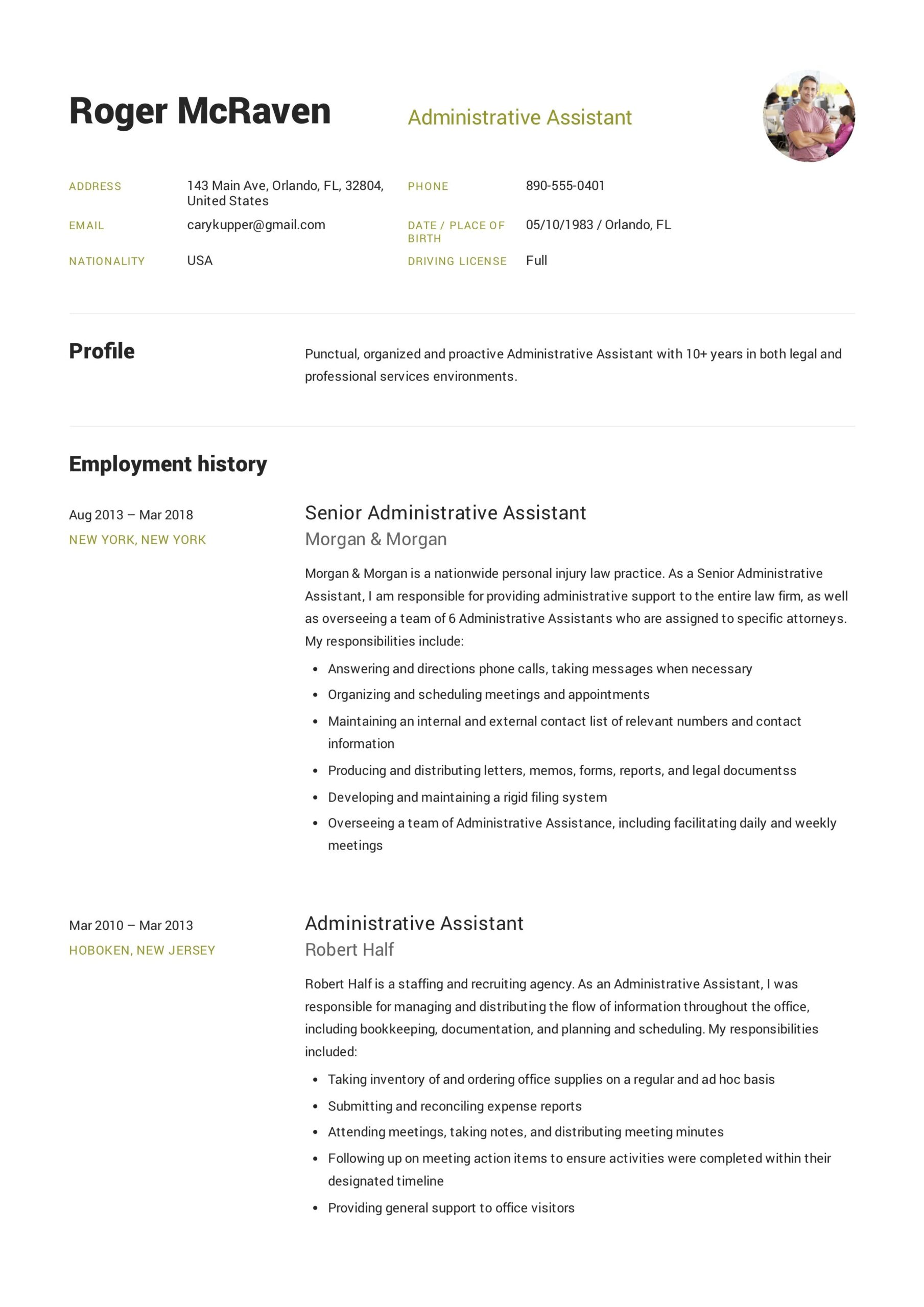 free administrative assistant resume sample template example cv fo executive job Resume Free Administrative Assistant Resume Templates