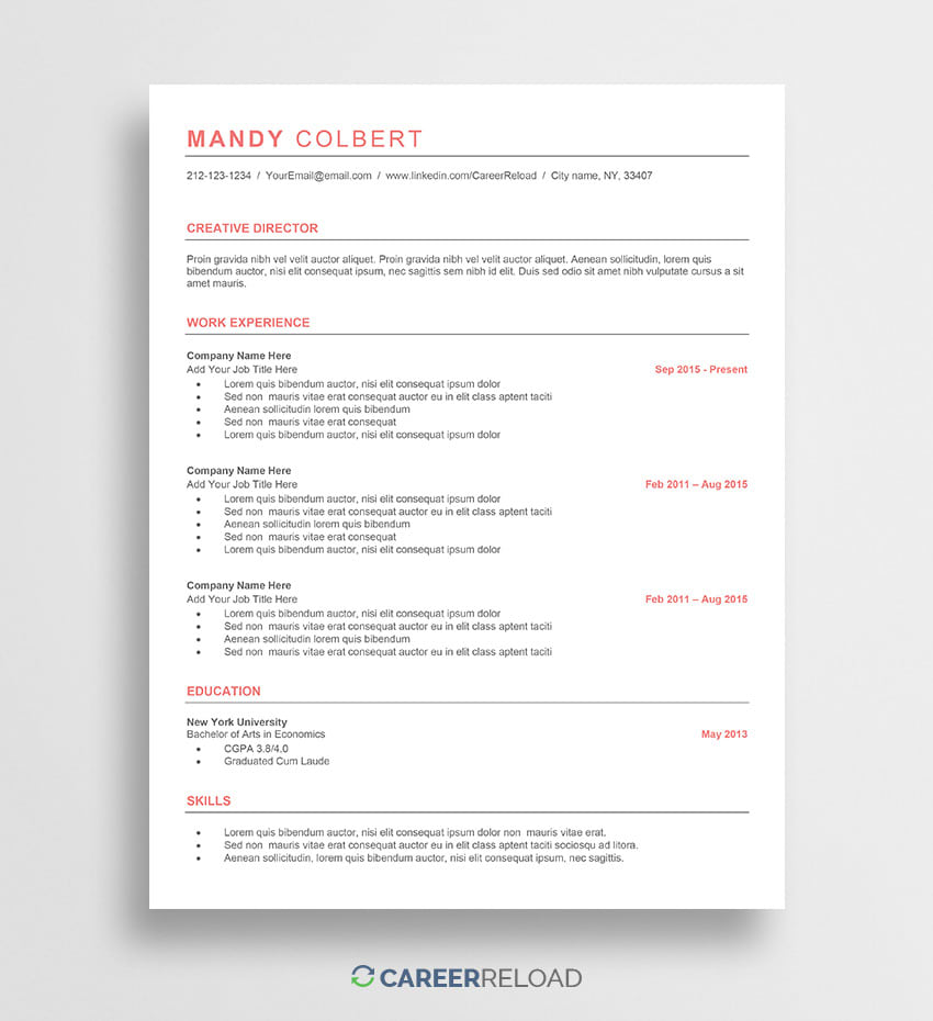 free ats resume template mandy career reload format friendly editing services library Resume Resume Format Ats Friendly