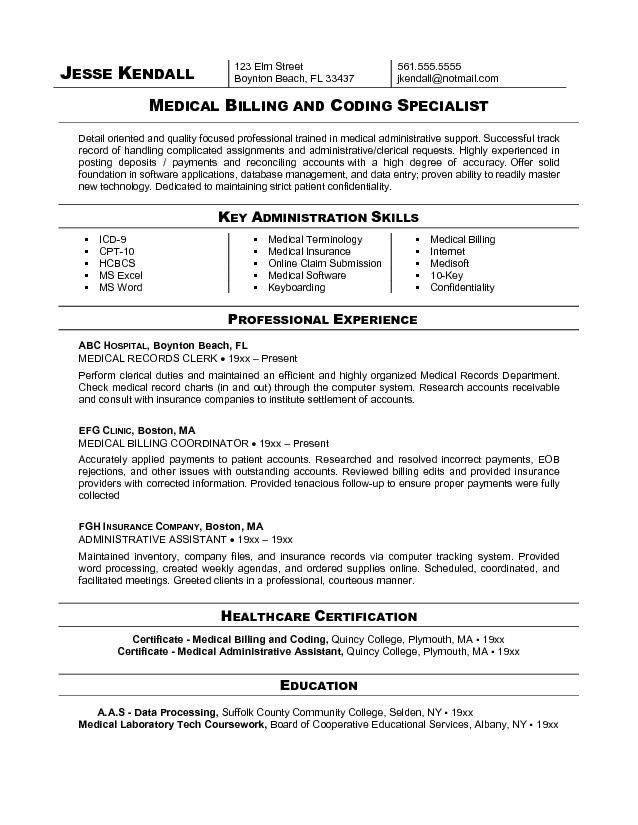 free billing coding resume sample medical and assistant coder examples good verbs Resume Medical Billing Resume Examples