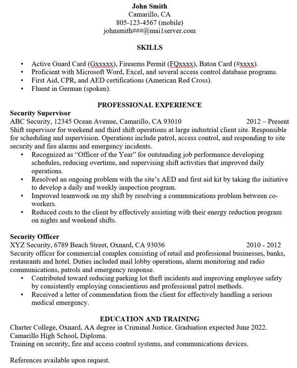 free building an effective security guard resume from training center objective small Resume Security Guard Resume Objective