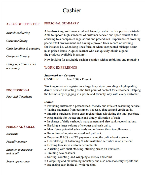 free cashier resume templates in pdf better word for sample private housekeeper teacher Resume Better Word For Cashier For Resume