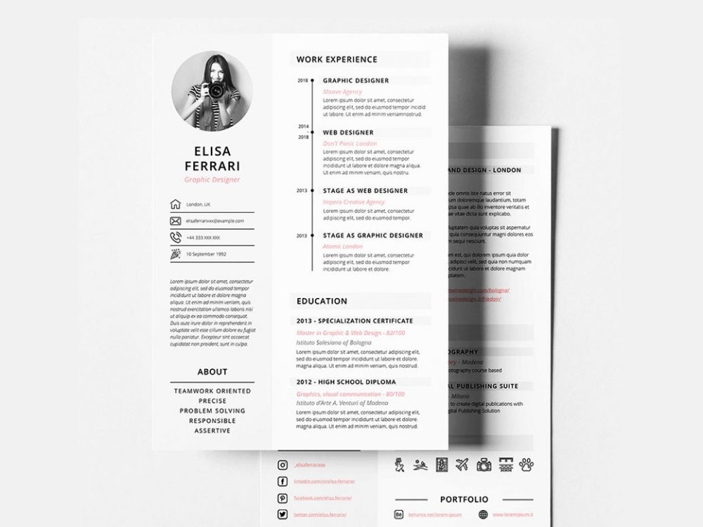 free creative resume cv template with two resumekraft best simple 1000x750 cover letter Resume Best Pages Resume Template