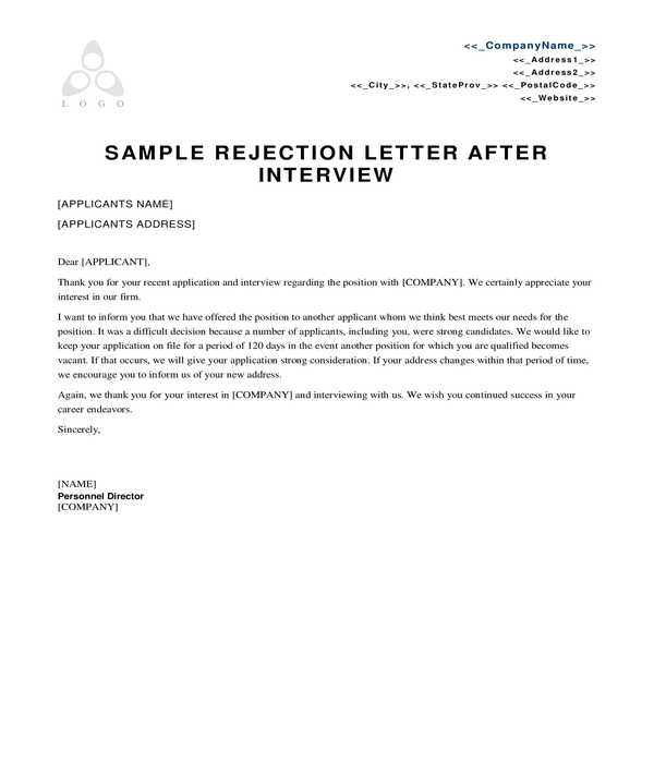 free employment rejection letters in pdf ms word resume letter template sample hobbies Resume Resume Rejection Letter Template