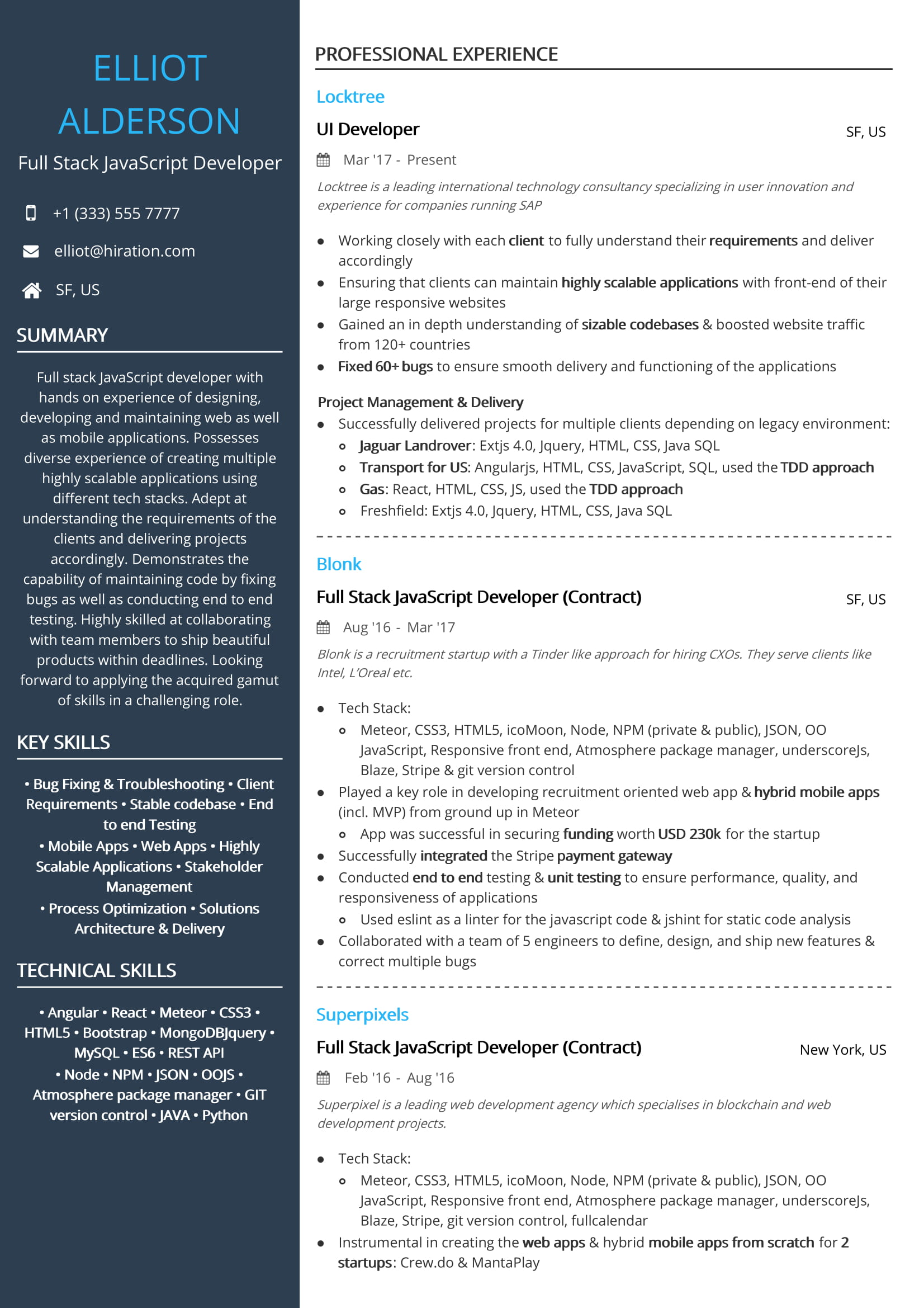 free full stack javascript developer resume sample by hiration example ibm bpm apa style Resume Javascript Developer Resume Example