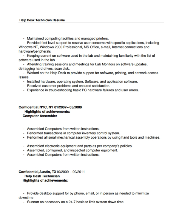 free help desk technician resume templates in pdf ms word it supports computer private Resume It Supports Technician Resume