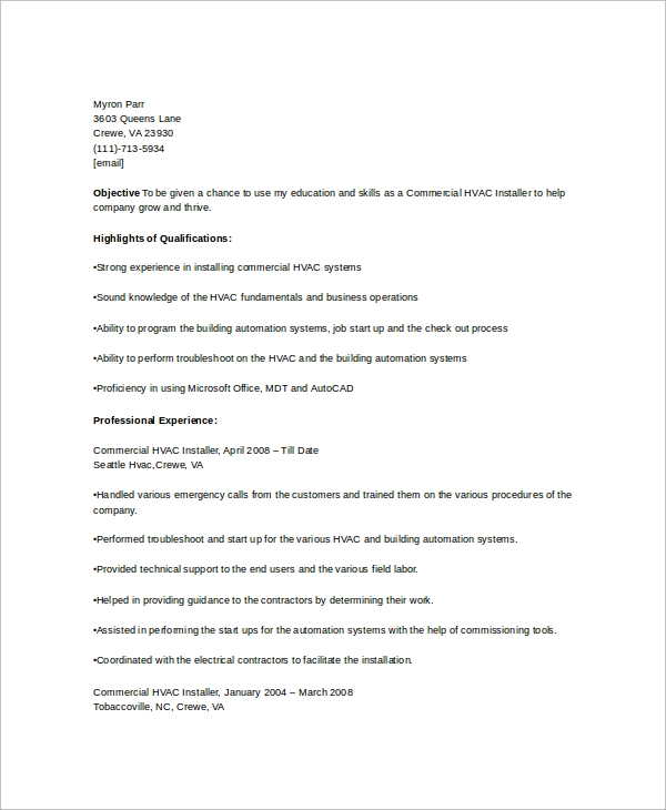 free hvac resume templates in ms word pdf installer template psych behance manufacturing Resume Hvac Resume Templates Free