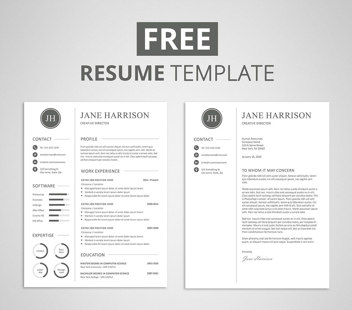 free modern resume template that comes with matching cover letter for professional Resume Resume Cover Letter Template Free