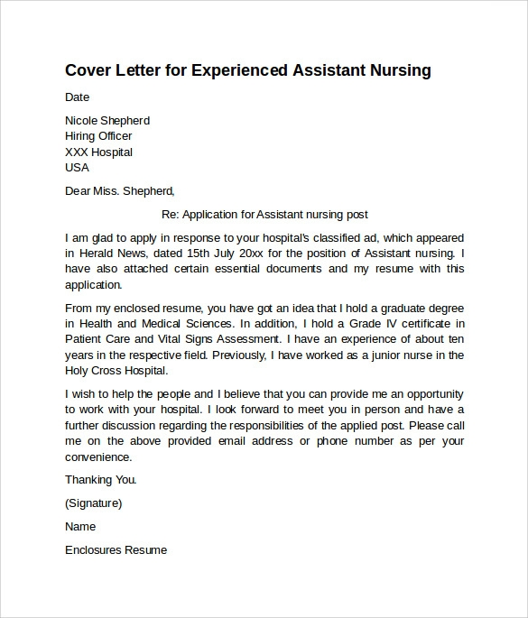 free nursing cover letter examples in pdf resume assistant for experienced substitute Resume Nursing Resume Cover Letter Examples