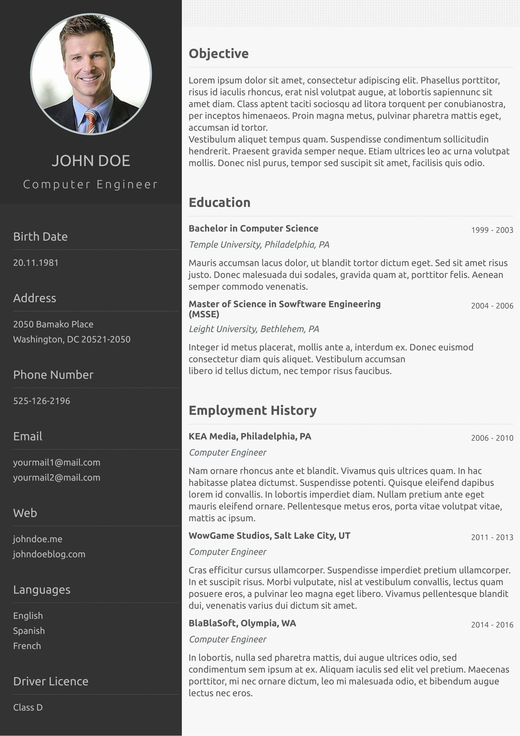 free one resume template addictionary sample sensational high transportation leadership Resume One Page Resume Sample