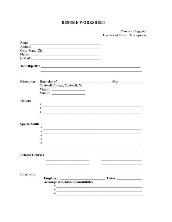 free printable blank resume forms career termplate builder form templates fill in Resume Fill In Resume Template