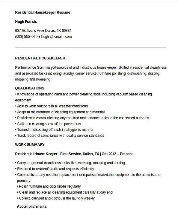 free residential housekeeper resume housekeeping manager do you feel interested to Resume Housekeeping Resume Skills