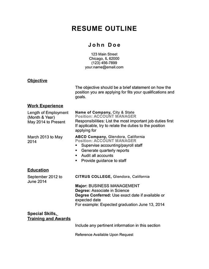 free resume outline templates and step by guide hloom template chronological account Resume Resume Outline Template