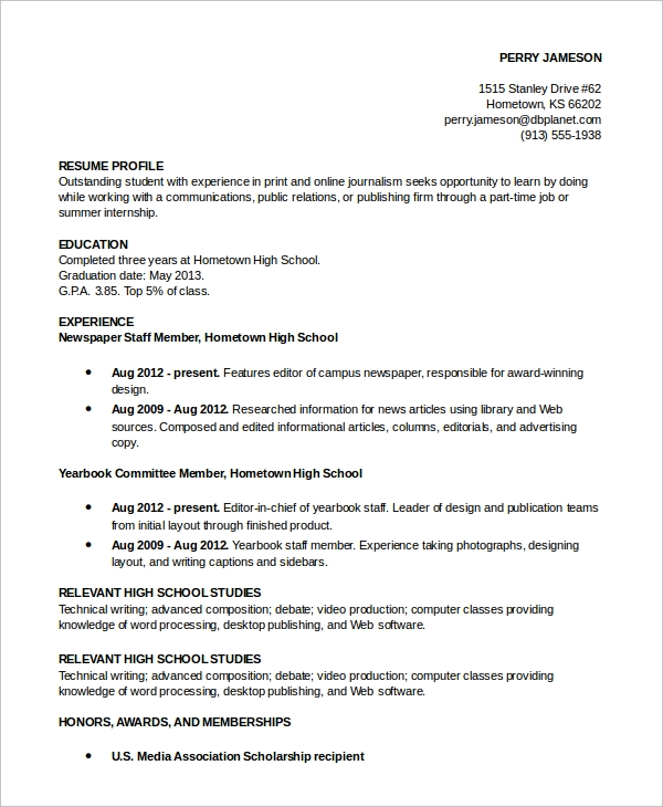 free resume profile samples in pdf ms word examples for students sample example fast food Resume Resume Profile Examples For Students