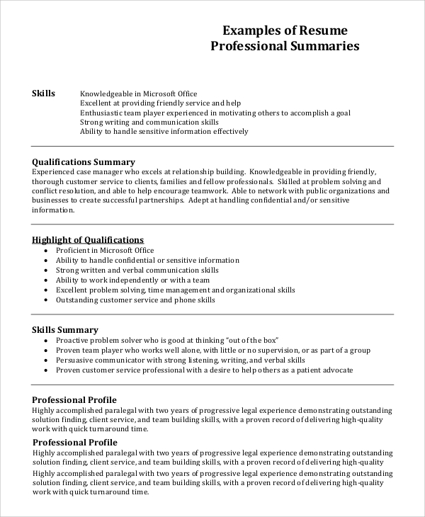 free resume profile samples in pdf ms word section of professional example1 the place Resume Profile Section Of Resume
